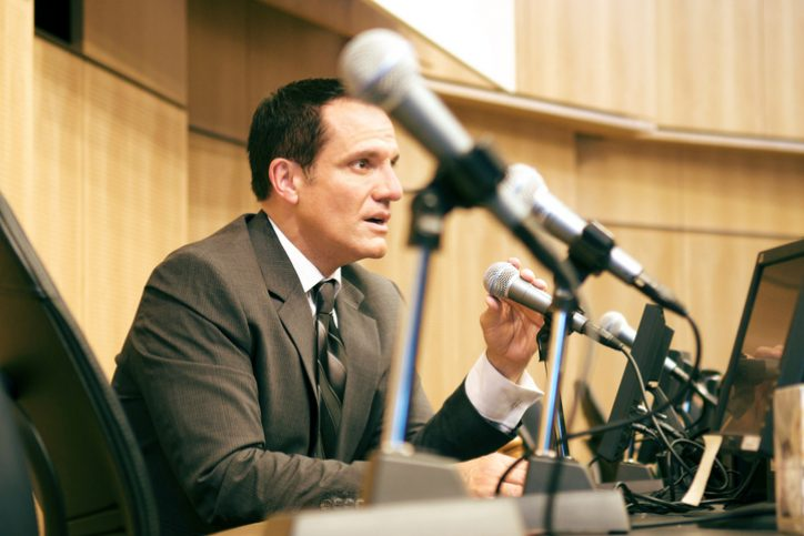 Congressman giving a speech